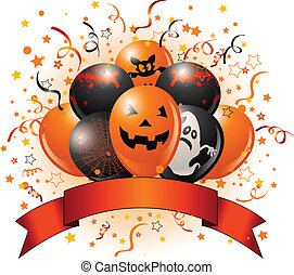 balões halloween, desenho