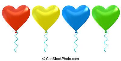 balões, jogo, hélio, coração
