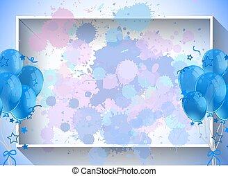 balões, modelo, azul, quadro, desenho