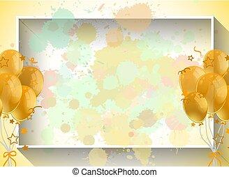 balões, modelo, fundo, desenho, amarela