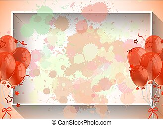 balões, modelo, laranja, quadro, desenho