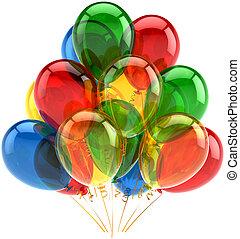 balões, multicolor, decoração