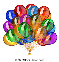 balões, multicolored, decoração, partido, feriado, hélio, grupo