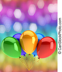 balões, partido, cinco, feliz aniversário, comemorar, aniversário, convite