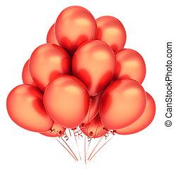 balões, partido, feliz aniversário, decoração, laranja, vermelho