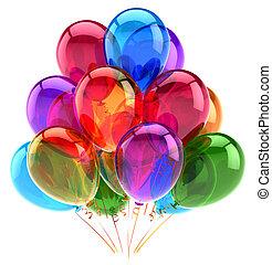 balões, partido, feliz aniversário, decoração, multicolored, lustroso