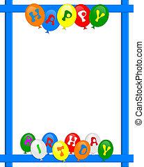 balões, quadro, aniversário, borda, feliz