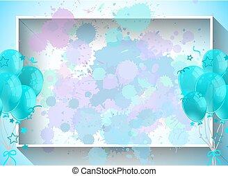 balões, quadro, azul, desenho