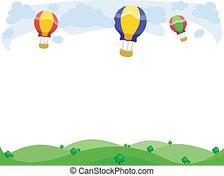 balões, quentes, borda, ar