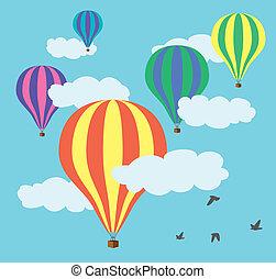 balões, quentes, vetorial, céu, ar