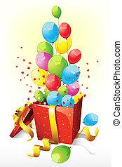 balões, saindo, de, goft, caixa
