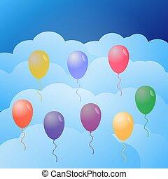 balões, sky., coloridos