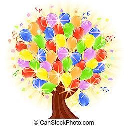balões, vetorial, árvore, ilustração