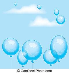 balões, vetorial, céu