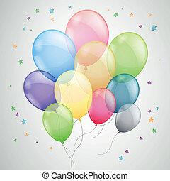 balões, vetorial, voando, coloridos