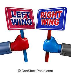 bal, és, helyes, politika