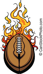 bal, amerikaan voetbal, vect, het vlammen