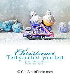 bal, auto, cristmas, dragen, vrachtwagen, bomen., kerstmis
