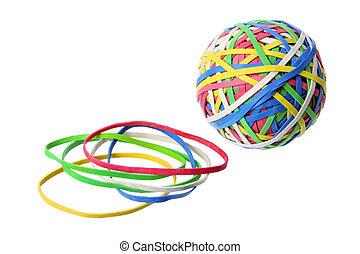 bal, band, rubber