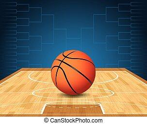 bal, basketbal rechtbank, illustratie, toernooi