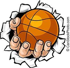 bal, basketbal, tearing, achtergrond, hand