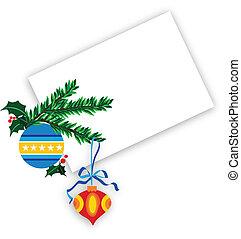bal, besjes, blauwe achtergrond, kerstmis, sierlijk, hulst, ...
