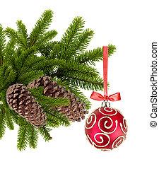 bal, boompje, achtergrond, vrijstaand, kerstmis, witte