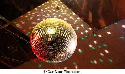 bal, club, spiegel, disco, ronddraaien, nacht