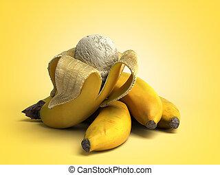 bal, concept, render, kleur, moderne, ijs, ligt, fruit, achtergrond, geroosterd, room, banaan, 3d