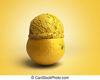 bal, concept, render, kleur, moderne, ijs, ligt, fruit, achtergrond, geroosterd, sinaasappel, room, 3d