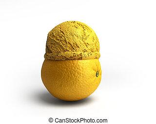bal, concept, render, moderne, ijs, ligt, fruit, achtergrond, geroosterd, sinaasappel, witte , room, 3d
