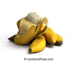 bal, concept, render, moderne, ijs, ligt, fruit, achtergrond, geroosterd, witte , room, banaan, 3d