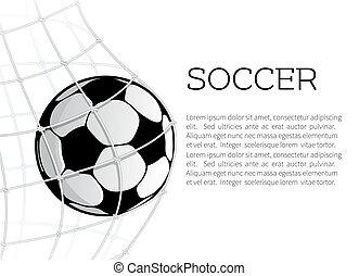 bal, doel, ontwerp, net, voetbal, of