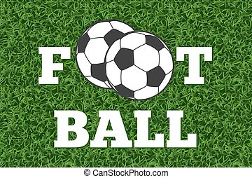 bal, football veld, vector, groen gras