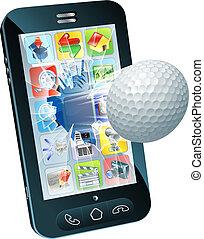 bal, golf, beweeglijk, vliegen, telefoon, uit