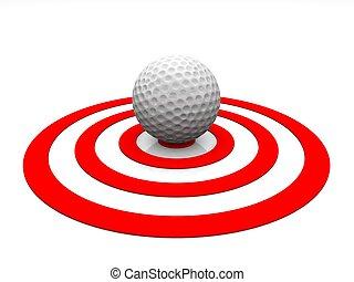 bal, golf, -, detail, achtergrond, witte