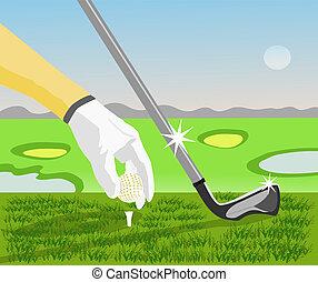 bal, golf, hebben, hemel, golfers, field., achtergrond, ...