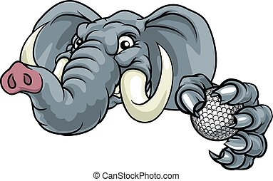 bal, golf, sporten, dier, elefant, mascotte