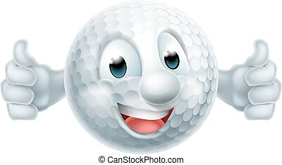 bal, golf, spotprent, mascotte