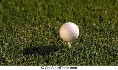 bal, golfspel club, tee, het slaan, van