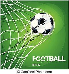 bal, goud, beeld, voetbal, vector, net, voetbal