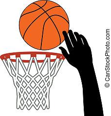 bal, grit, symbool, vector, door, basketbal hoop