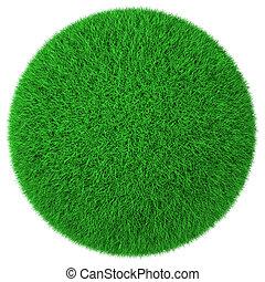 bal, groene, vrijstaand, gras, gemaakt