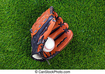 bal, honkbal, gras, handschoen