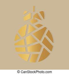 bal, illustratie, icon-, kerstmis, vector, gouden
