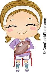 bal, illustratie, vlag, voet, meisje, geitje