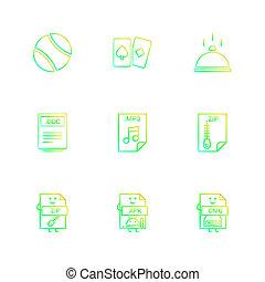 bal, kaart, schaaltje, doc, woord, bestand, ritssluiting, gecomprimeerd, bestand, mp3, audio, bestand, apk, android, bestand, dmg, appel, bestand, negen, eps, iconen, set, vector