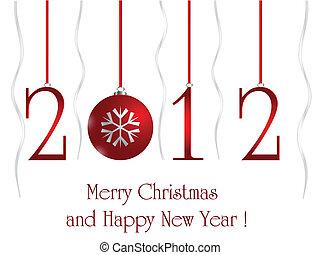 bal, kerstmis, kaart, 2012