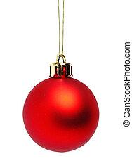 bal, kerstmis, rood