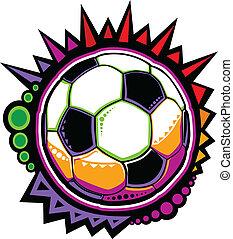 bal, kleurrijke, mozaïek, voetbal, vector